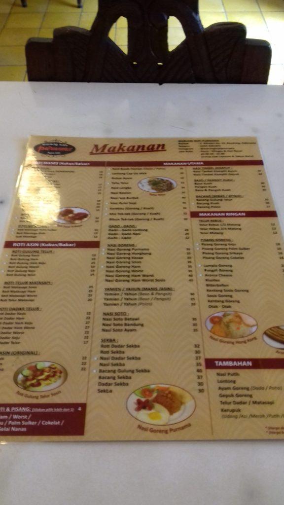 Harga menu Warung Kopi Purnama